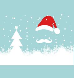 christmas card santa claus and snowfall and white vector image