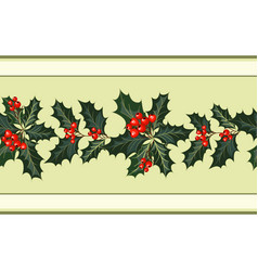 Christmas holiday decorations with holly vector