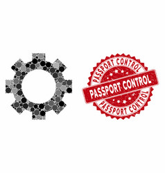Collage gear with grunge passport control seal vector
