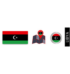 Collection libyan national flags isolated vector