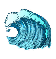 Color rushing foamy tropical ocean marine wave vector