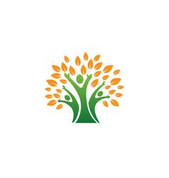 creative autumn people tree logo vector image