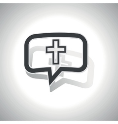 Curved christian cross message icon vector
