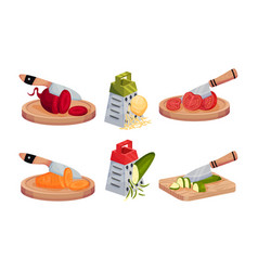 Cutting raw vegetables with knife and grating vector