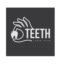 dental care logo template with hand holding tooth vector image