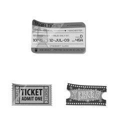 Design of ticket and admission logo set of vector