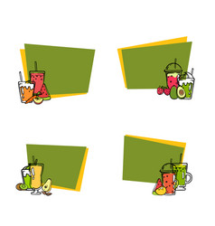 doodle smoothie stickers with text set vector image