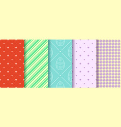 Eggs gingham polka dot and striped pattern vector