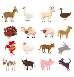 Farm animals cute set in cartoon style isolated on vector