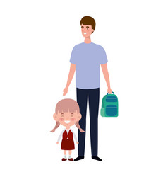 Father with daughter back to school vector