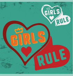girls rule slogan for t-shirt print stamp tee vector image