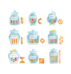 Glass jars filled with dry farfalle pasta set vector