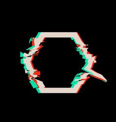 Glitch distortion frame hexagon vector