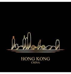 Gold silhouette of Hong Kong on black background vector image