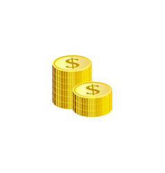 gold stack of dollar coins isolated on white vector image