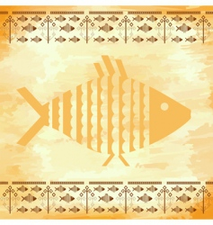grunge background with the fishes vector image