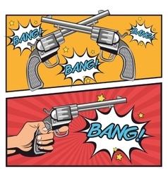 Gun cmomic revolver bang bubble design vector