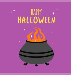 halloween card with pot of potion vector image