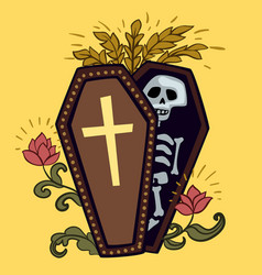 halloween coffin with skeleton design vector image