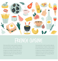 hand drawn banner background with french food vector image