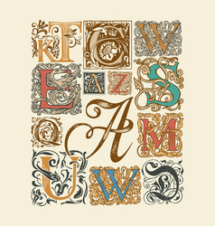 hand-drawn set ornate initial letters vector image