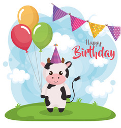 Happy birthday card with cow vector
