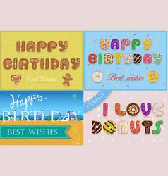 Happy birthday inscription by unusual font vector