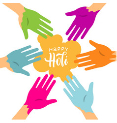 happy holi colorful background with circle of vector image
