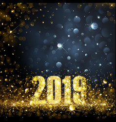 Happy new year banner with gold 2019 numbers vector