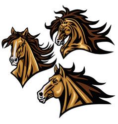 horse mustang head logo mascot design vector image