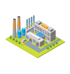 industrial factory building isometric view vector image
