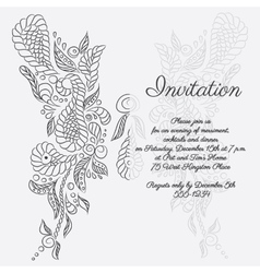 Invitation grey butterfly pattern vector