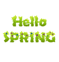 lettering hello spring grass with flowers vector image