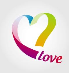 Logo heart colored ribbons vector