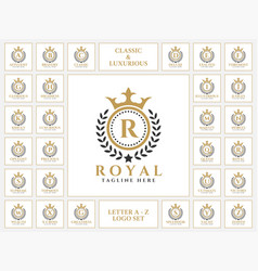 Luxurious letter logo set with royal classic vector