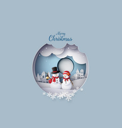 merry christmas with snow man in village vector image