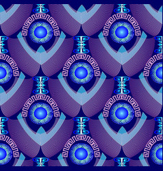 modern blue textured 3d greek seamless pattern vector image