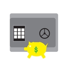 Modern flat icon safe and piggy bank on white vector