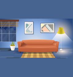 Modern living room interior cartoon vector