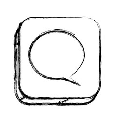 Monochrome sketch of square button with dialog box vector