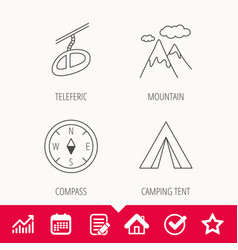 mountain camping tent and teleferic icons vector image