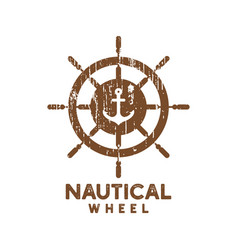 nautical wheel logo icon design template vector image