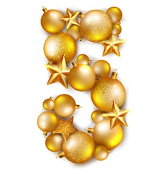 Number 5 made of shiny Christmas tree balls vector