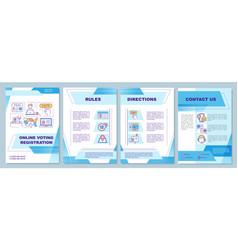 Online voting registration brochure template vector