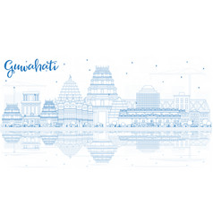outline guwahati india city skyline with blue vector image