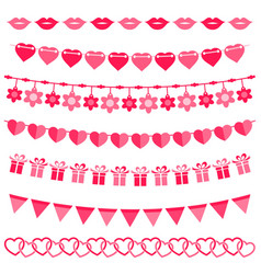 Pink bunting and garland set for girls vector