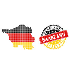 pixelated map of saarland state colored in german vector image