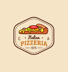 Pizza logo modern pizzeria emblem icon vector