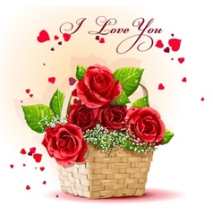 Red roses in a basket vector image
