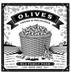 retro olive harvest label with landscape black vector image